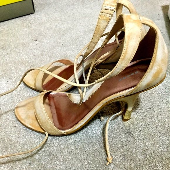 Beige/cream heeled sandals Cream washed heeled sandals with tie up ankle straps.  Heels have a metallic gold tip.  Worn once.  In like new condition. Shoes Sandals