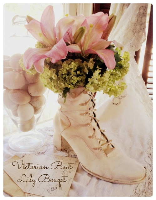 *Rook No. 17: recipes, crafts & whimsies for spreading joy*: Lilies for Mothers Day ~ Victorian Boot Planter DIY (and $25 VISA gift card giveaway)