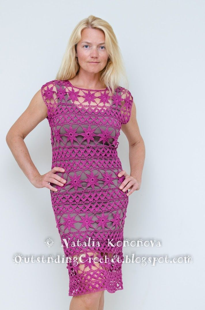 Outstanding Crochet: New project is done. Radiant Orchid Crochet Dress.