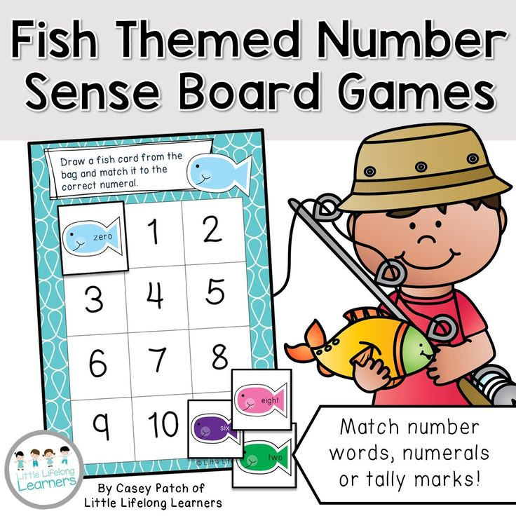 Differentiated Fish Themed Number Sense Board Games - Numbers 0 to 20 | Explore and revise the different ways numbers can be represented with these math board games. Your advanced students might match number words to numerals and your lower students might match numerals to numerals. The choice is yours! | Little Lifelong Learners