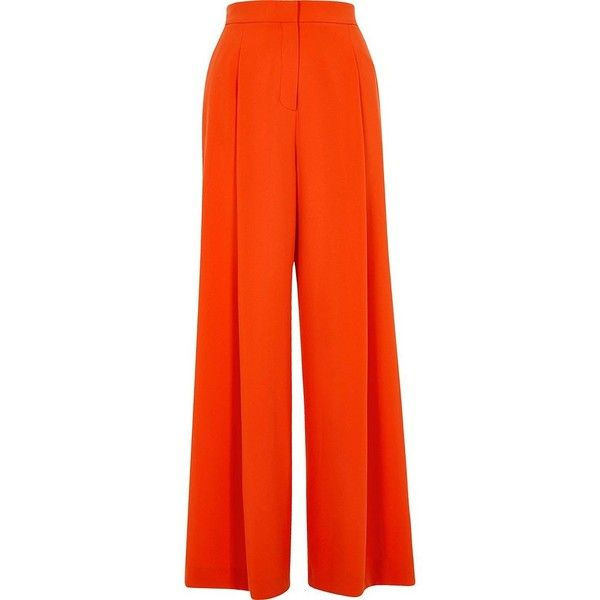 River Island Red wide leg pants ($84) ❤ liked on Polyvore featuring pants, bottoms, red, wide leg pants, women, high waisted wide leg trousers, zip pants, tall pants, high-waisted trousers and red pants