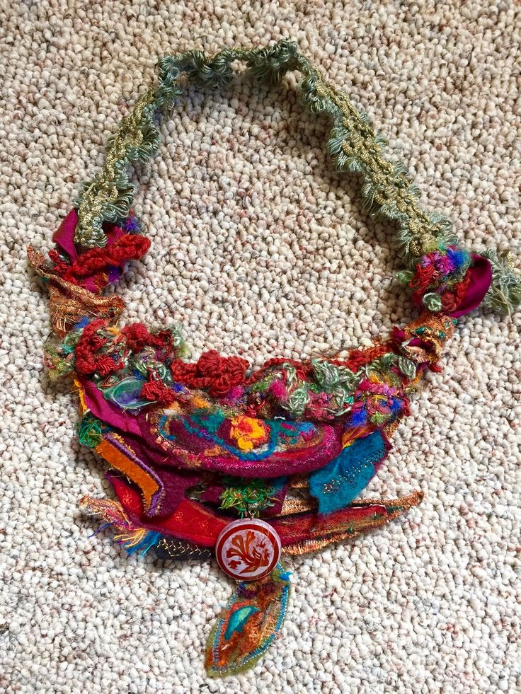 statement necklace-Amy Mimu Rubin-Joy Luck Club- mixed media felting- machine embroidery- crochet- bead