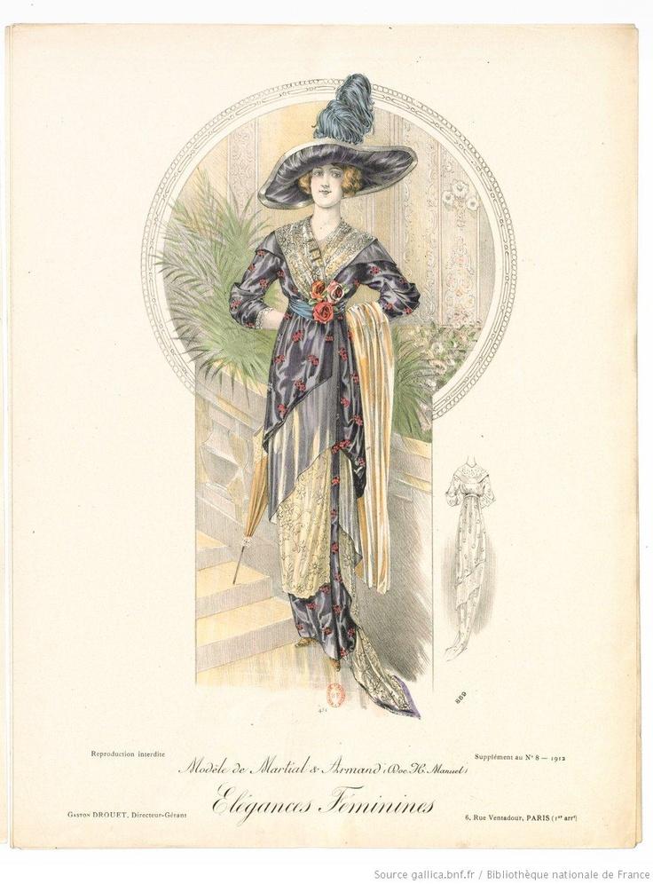Von den weiblichen Elegances. Monatlicher Rückblick auf die Pariser Haute Couture 1912. Kleid von Martial et Armand