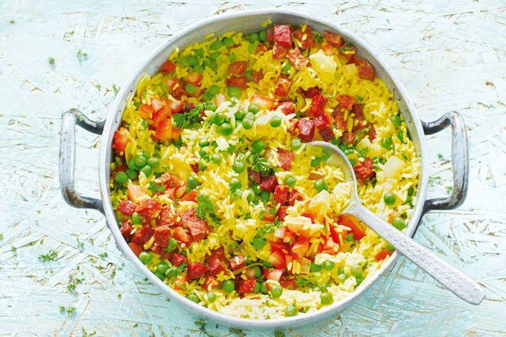Kijk wat een lekker recept ik heb gevonden op Allerhande! Gele rijst met chorizo