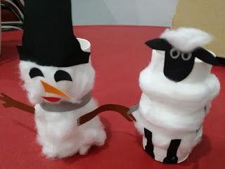 untuk anakanak sekolah minggu: Kreasi kertas bekas Tissue roll.- Domba dan Snowma...