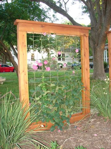 Framed Trellis... Have a pretty mirror frame that the glass broke - this is a perfect idea!