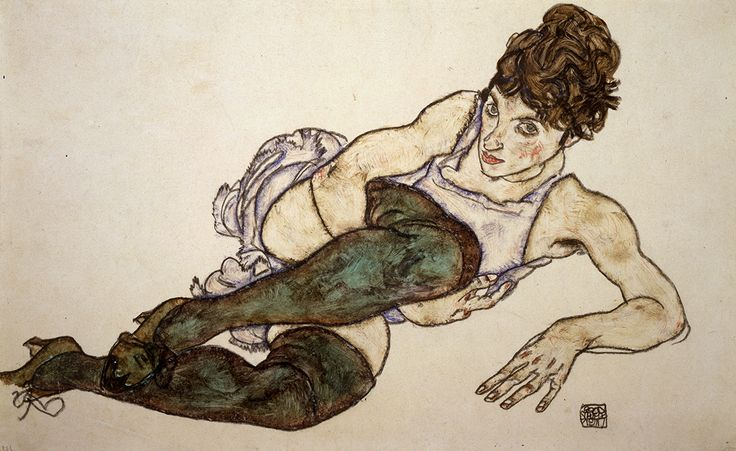 [CasaGiardino]  ♡  Egon Schiele (1890-1918). Reclining Woman with Green Stockings, 1917. Gouache and black crayon on paper. Private Collection, Courtesy Galerie St. Etienne, New York. Image courtesy of Neue Galerie, New York.
