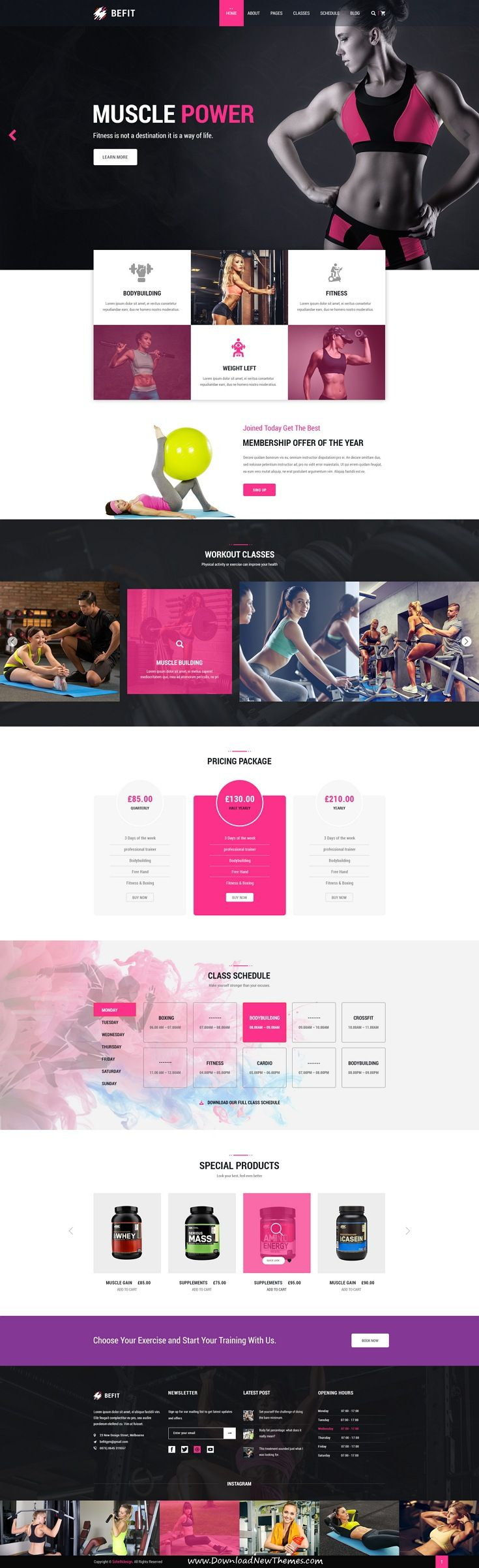 BeFit is clean and modern design #PSD Template for #gym and #fitness centers website with 4 homepage layouts and 40 layered PSD pages to live preview & download click on Visit