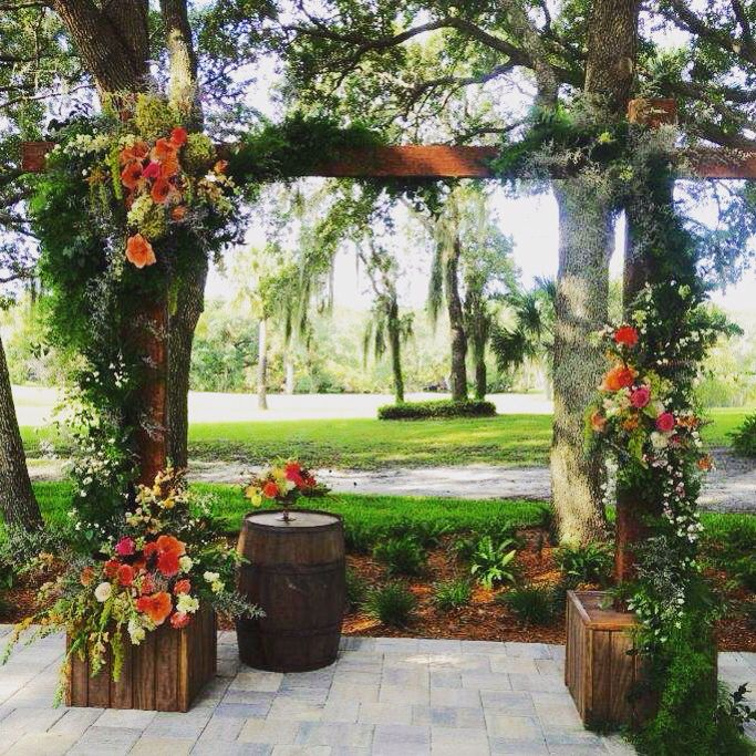 Decorated ceremony arbor at Up the Creek Farms.