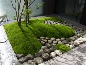 modern japanese-style garden: mound of moss and round rocks
