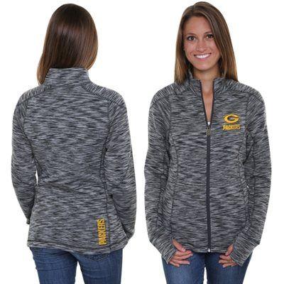 Pro Line Green Bay Packers Womens Max Static Full Zip Jacket - Gray