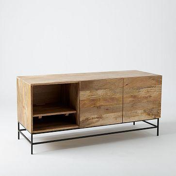 Rustic Storage Media Console – Large | 52w x 18d x 24h | Raw Mango Wood with a wax finish | Slender raw steel legs |  $800