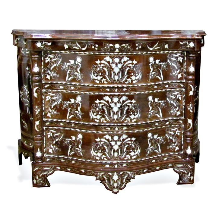 Moroccan & Syrian Furniture - Moroccan Syrian inlaid chest with mother of pearl and camel bone on walnut.
