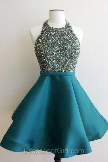 Halter Prom Dress, Beaded Prom Dresses, Blue Homecoming Dress, Open Back Homecoming Dresses, Satin Cocktail Dresses