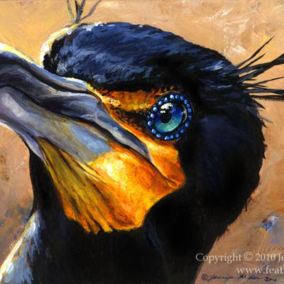 """Double crested Kormoran"" Acrylmalerei"