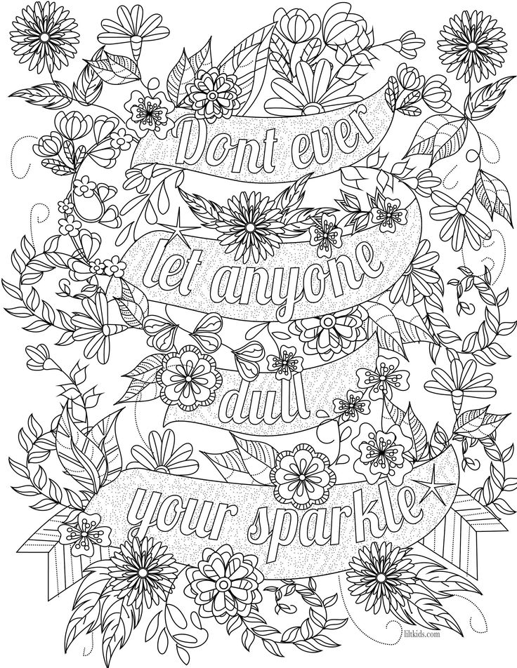 free inspirational quote adult coloring book image from liltkidscom see more free adult - Coloring Pages For Free