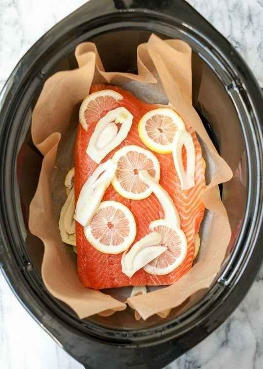 Crock Pot Salmon With Lemon and Herbs                                                                                                                                                     More