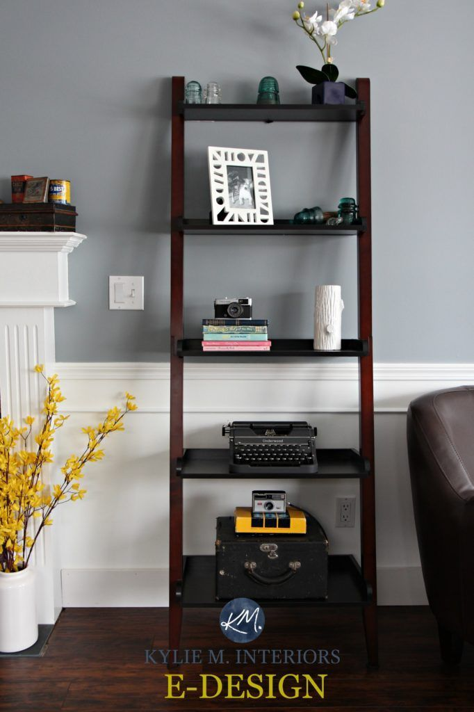 Sherwin Williams Network Gray With White Wainscoting Or Lower Walls And Ladder Shelf Kylie M Interiors E Design Online Colour Consulting