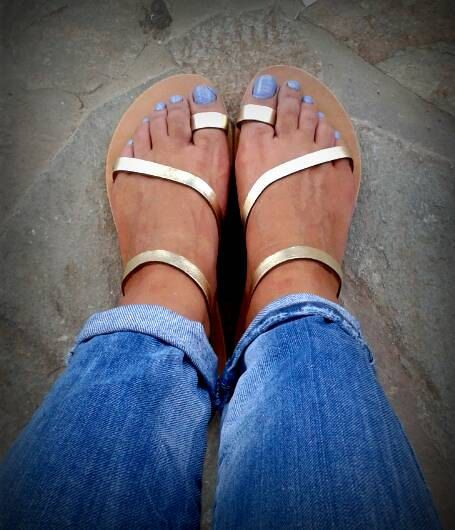 NEUE griechische Sandalen! Riemchen-Sandalen Gold! Echte Handarbeit! Damen Sandalen! Sommer-Sandalen! Gladiator Sandalen! Ledersandalen!