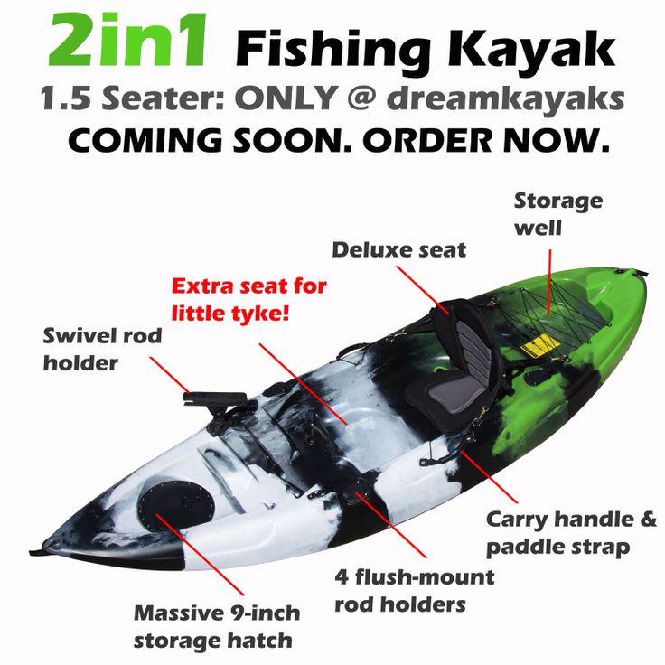 "New! 2014 Model ""2in1"" 1.5 Seater Fishing Kayak"