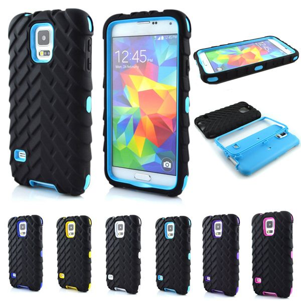 """S5 Tire Type Dual Layer Case For Samsung Galaxy S5 S 5 SV I9600 5.1"""" Armor Hybrid Defender Plastic Mobile Phone Protective Cover"""