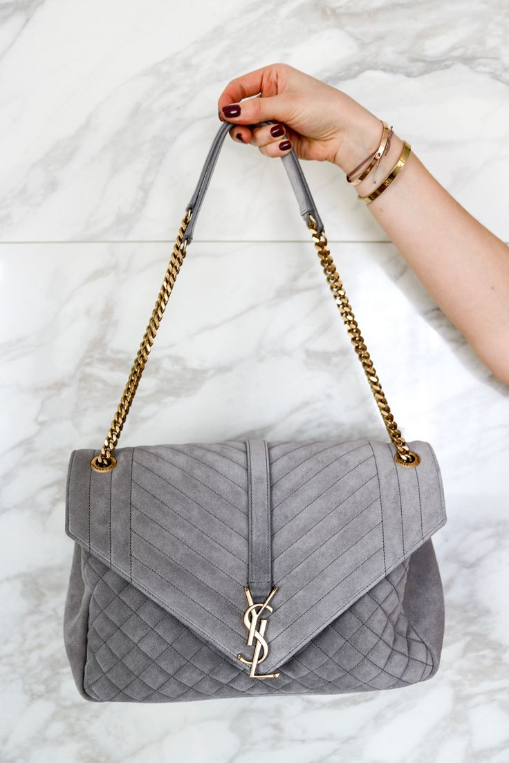 Love At First Sight: YSL Envelope Suede Grey – trmling