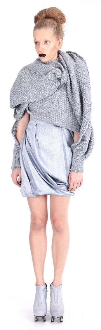 Dress ( wool), scarf ( hand-knitted, wool yarn), shoes ( leather, stainless-steel heel)