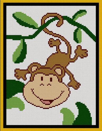Baby Monkey Jungle Afghan Crochet Pattern Graph 100st
