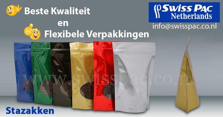 De #stazak is een erg populaire verpakking en kan met verschillende extra's worden aangepast op uw persoonlijke wensen. Wilt u ook een eigen stazak ontwerpen? Ga dan naar www.swisspac.co.nl/stazakken
