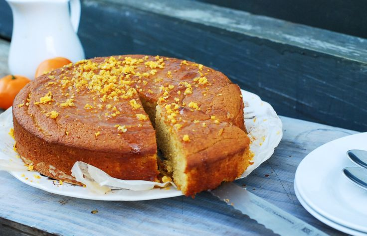Mandarin Almond cake with citrus honey drizzle. Gluten free and naturally sweetened.