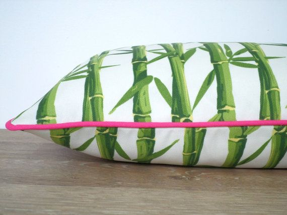 Green outdoor pillow cover 20x12 tropical decor, bamboo cushion cover for outdoor garden bench, green and pink pillow case