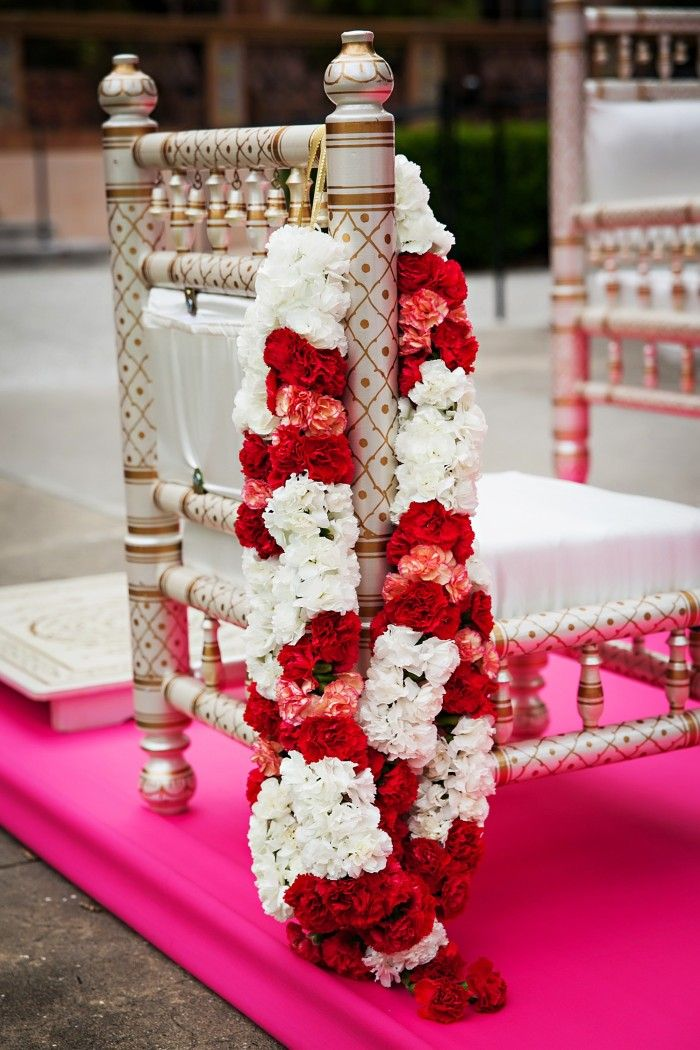 Our beautiful Indian Mandap Furniture; Indian floral garlands await our bride and groom