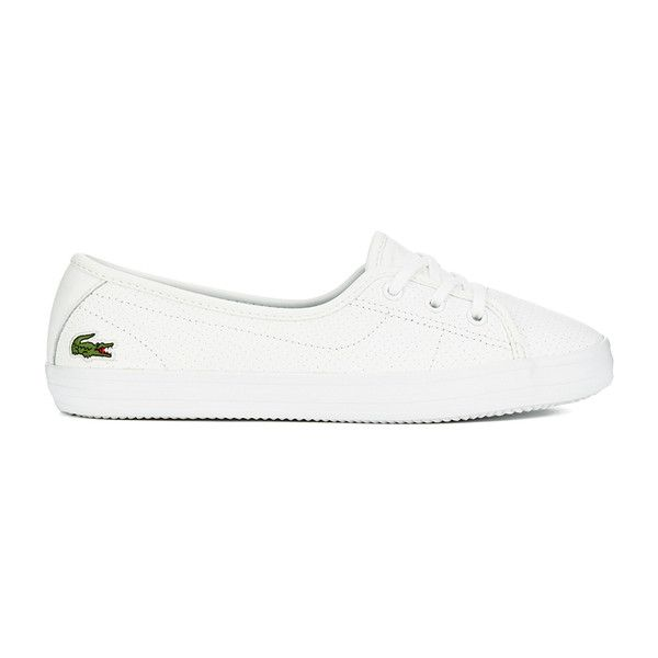 Lacoste Women's Ziane Chunky 116 2 Leather Lace Pumps (6.000 RUB) ❤ liked on Polyvore featuring shoes, white, chunky shoes, lacoste shoes, white chunky shoes, leather lace up shoes and low top