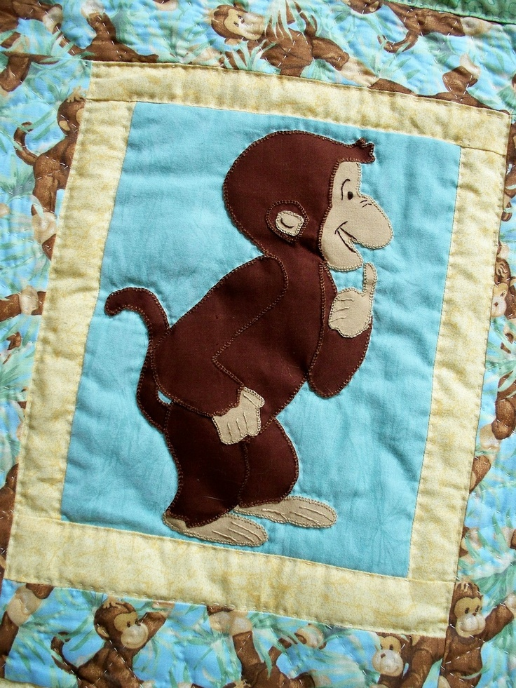Monkey Business Hand Appliqued and Hand Quilted by TrueluvQuilts