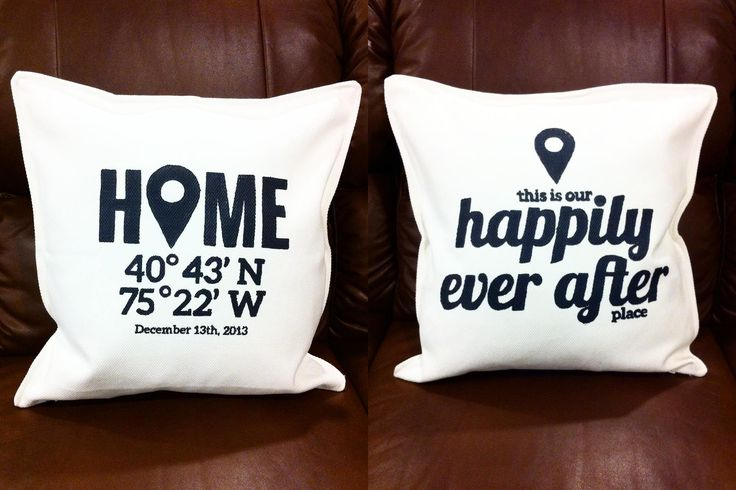 Housewarming pillows by pamlee81 at @Studio_Calico - love, love, love this idea!