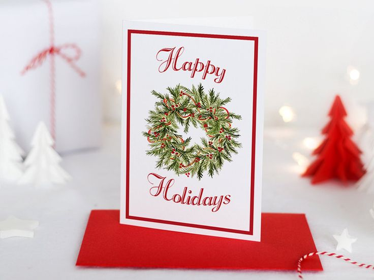 "Holiday Greeting Card Merry Christmas - Watercolor Christmas Cards - Happy Holidays ""Christmas Wreath"" Greeting Card - Season's Greetings by PaintTheDayDesigns on Etsy"