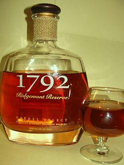 1792 Ridgemont Reserve is a Kentucky Straight Bourbon Whiskey produced by the Barton Brands Distillery in Bardstown, Kentucky. The brand and distillery are owned by the Sazerac Company. It is part of a line of small-batch bourbons aimed at the high-end liquor market.
