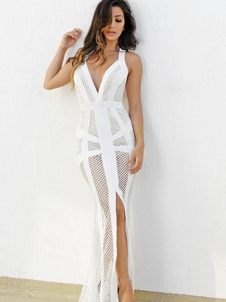 Shoespie Hollow Backless Mesh Floor-Length Bodycon Dress Material:Cotton
