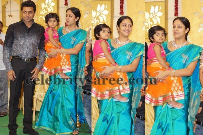 cf1011d98318b Jyothika Sea Blue Silk Saree