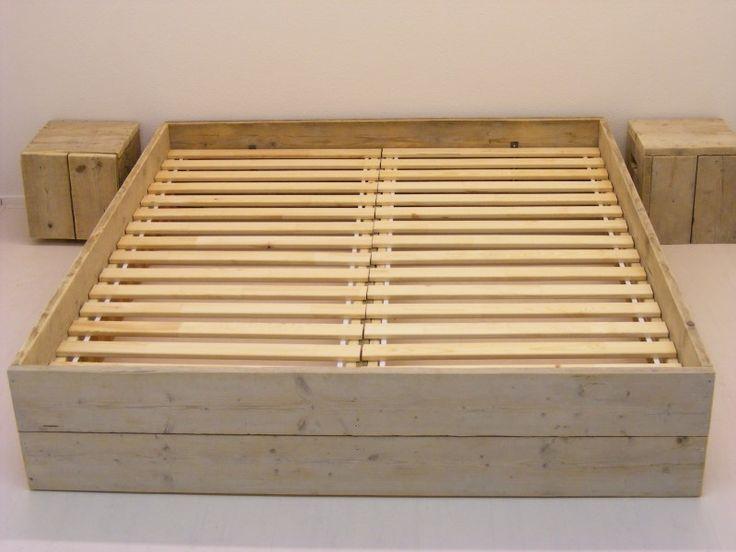 Tweepersoonsbed steigerhout budget van nieuw of oud steigerhout (121618302BD)