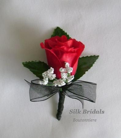 Red Rose Boutonniere Silk WEDDING Flowers by SilkBridals on Etsy, $11.92