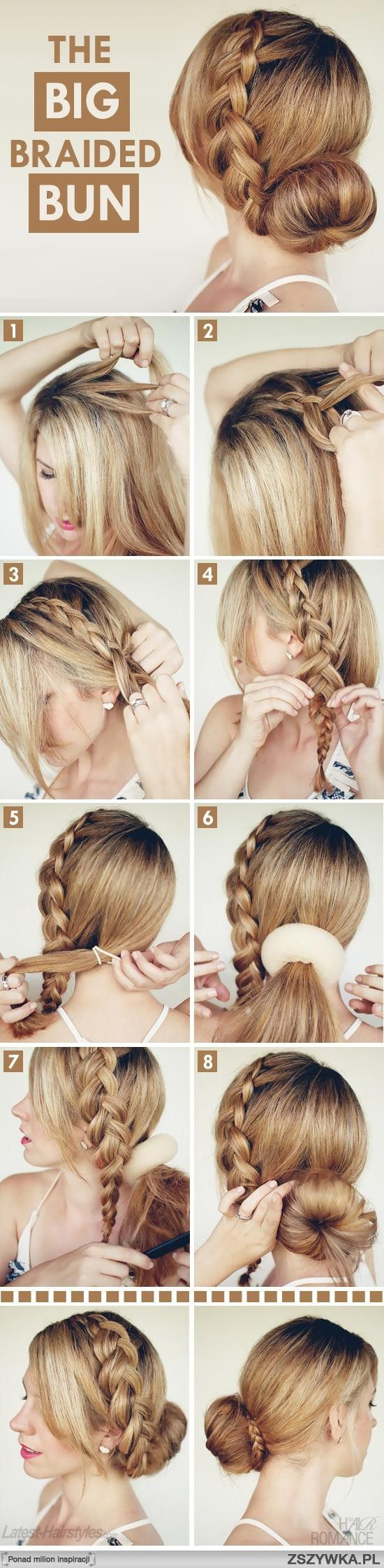 Big Braided Bun for the long-haired people in my house.