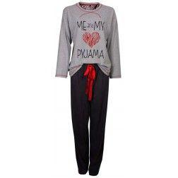 """Hartjes dames pyjama met de tekst """"ME and MY PYJAMA"""" in het grijs"""