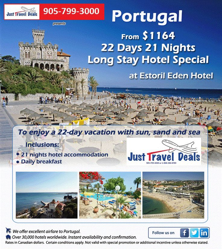 Portugal Vacation 22 Days 21 Nights-Long Stay Hotel Special Get Prices & Dates