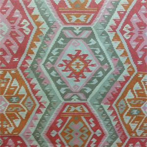 This is a pink, orange, brown and tan southwestern drapery fabric by P Kaufmann. Great for any home decorating project.v001IEF