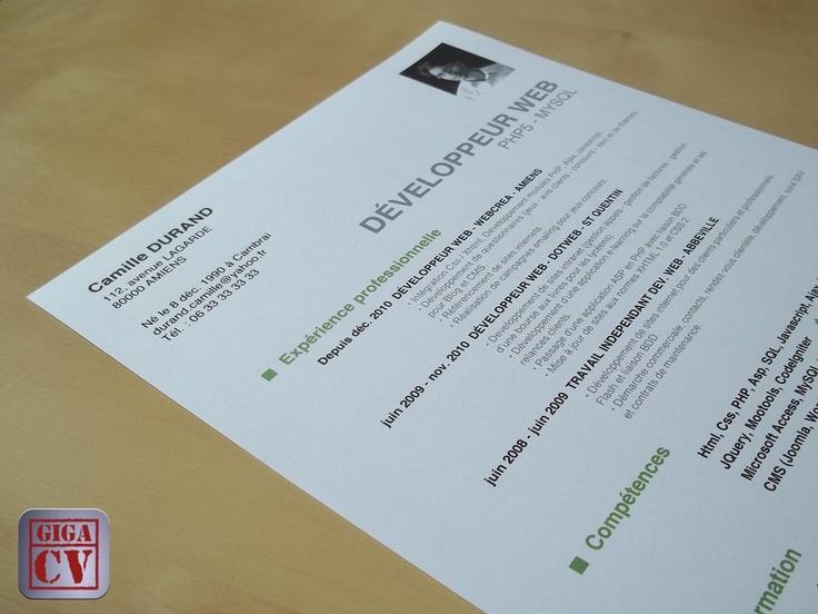 """CV, lettre de motivation et tests psychotechniques. Style """"Jean-Patrick"""", un des douze styles proposé par l'application giga-cv sur iPhone et iPad."""