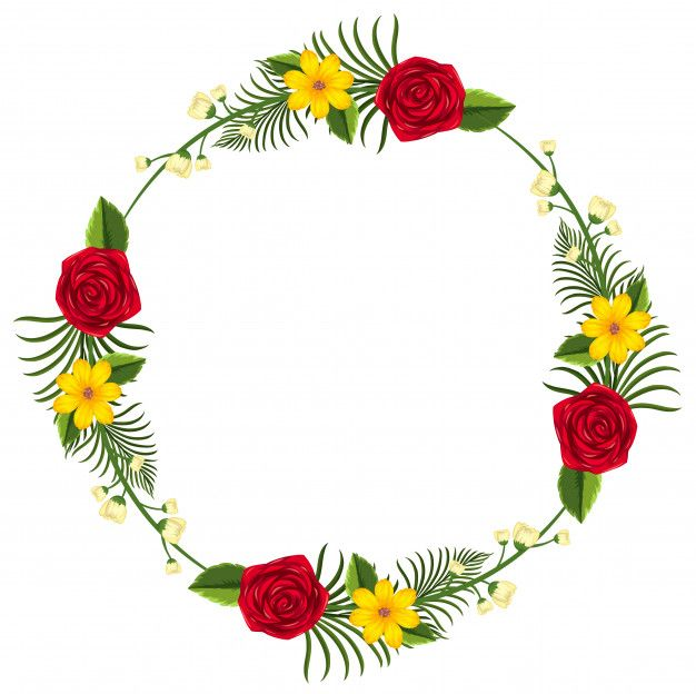 Round Border Template With Yellow And Red Flowers Premium Vector Red Flowers Border Templates Round Border