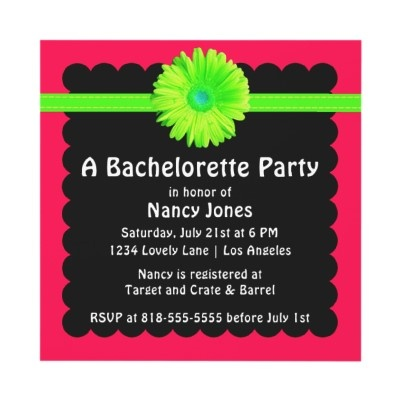 Neon Bachelorette Party Invitation by party_depot THE FLOWER WITH RIBBON ON BLACK PAPER