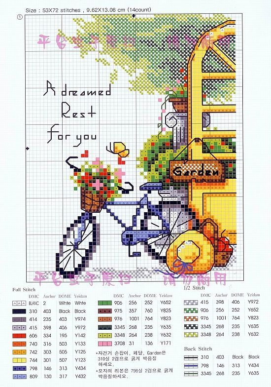 Garden-reasons-1 There are 4 to this grouping; bicycle cross stitch chart / pattern