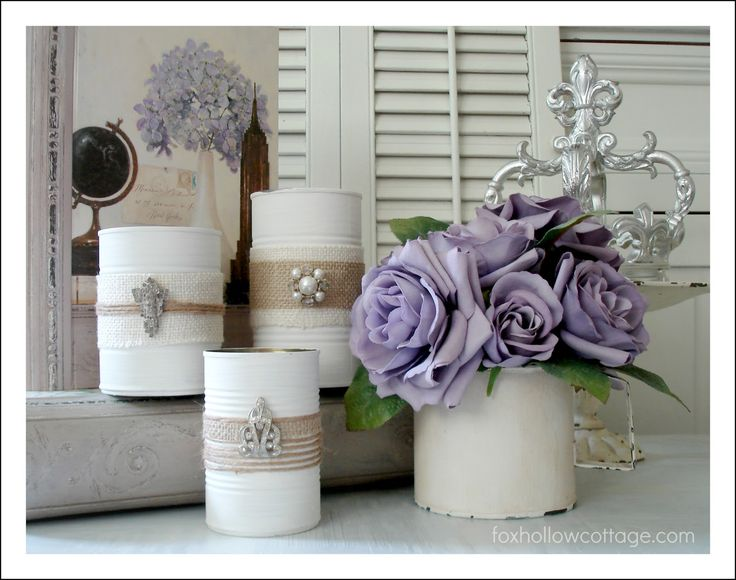Fox Hollow Cottage: Shabby Vintage Tin Can Craft ~ another take on using tin cans. Love it!